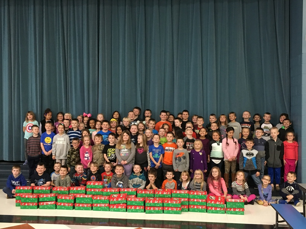 First Graders Stuff Shoe Boxes For The Holidays