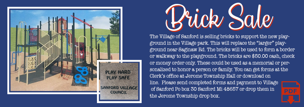 Village of Sanford Brick Sale for New Playground