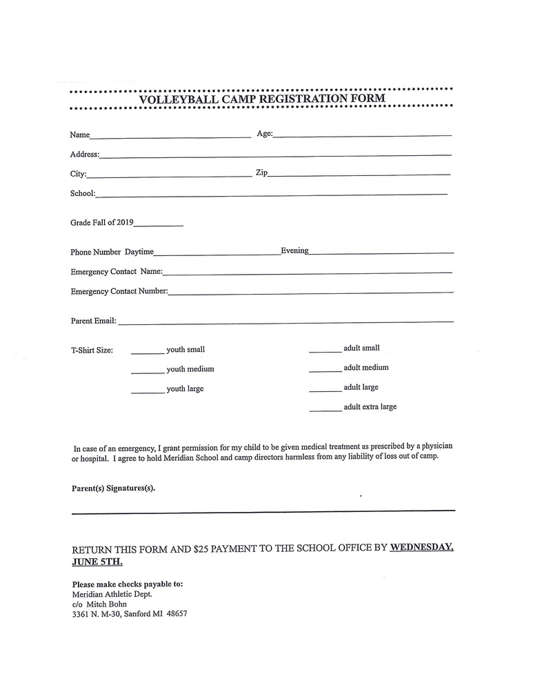 Volleyball Registration Form