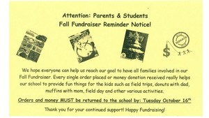 Fall Fundraiser Due