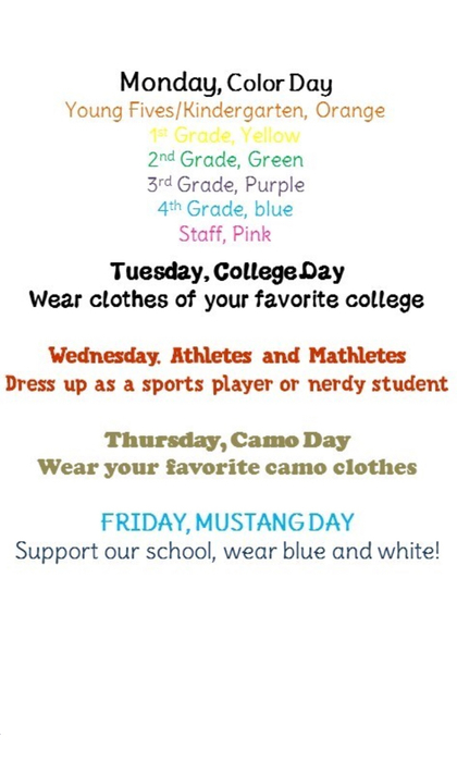 This is Spirit Week at Meridian Elementary. Go Mustangs!