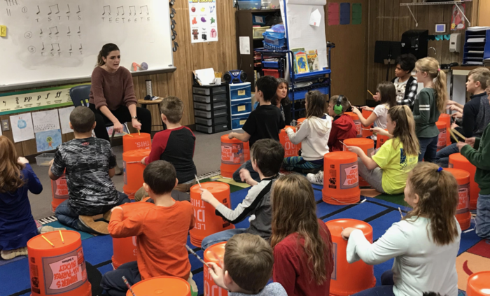 4th grade students in Mrs. DeRees's music class learn rhythm with some bucket drumming. Great learning experience and very fun!