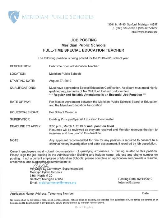 Special Education Job Posting