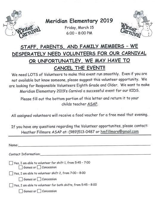 PTO sponsored Winter Carnival needs volunteers! Please see attached flyer!