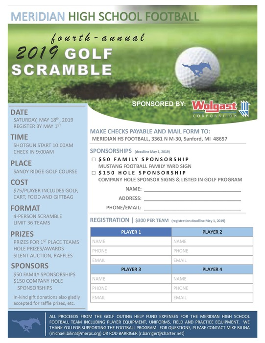 2019 HS Football Golf Scramble Flyer