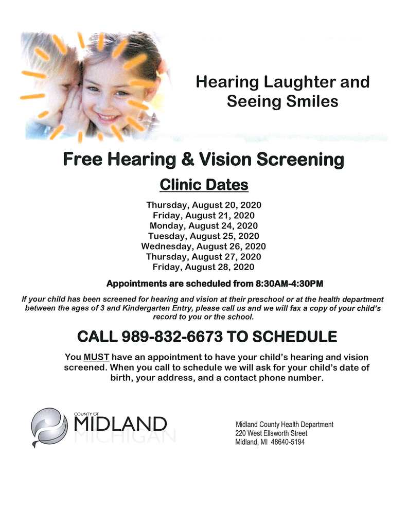 Hearing and Vision Clinic Dates